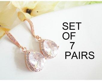 Bridesmaid Earrings Set of 7, Bridesmaid Earrings,Seven Cubic Zirconia Bridesmaid Earrings,Seven Pairs Earrings,Bridesmaid Jewelry,Rose Gold