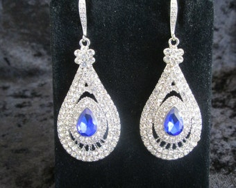 Blue Bridal Earrings,Vintage Style Sapphire Earrings,Something Blue, Wedding Earrings, Bridal Earrings,Sapphire Earrings,Rhinestone Earrings