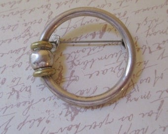Vintage Taxco Sterling Modernist Circle Pin  925 Signed
