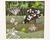 Abstract landscape Modern wall art Contemporary embroidery Cow Parsley Dandelion shadow Framed wall art Sculpture wall art Green Red poppy