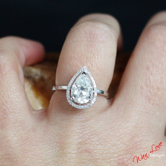 moissanite diamond def pear halo engagement ring plain band. Black Bedroom Furniture Sets. Home Design Ideas