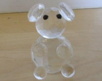 "Vintage Art Glass, Swarovski Crystal Teddy Bear, 1 3/4"" High, Some Damage, No Box"