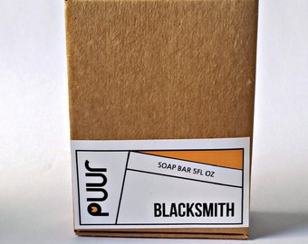 Blacksmith Men's Soap - Vegan Castile Soap Handmade Soap Bar Activated Charcoal Soap - Woods,  Leather, Mesquite, Hardwood