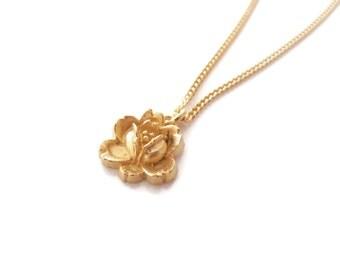 One Golden Flower Sterling Silver Necklace