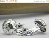 sale Sterling silver cufflinks button antique style - domed disc oxidized cuff links