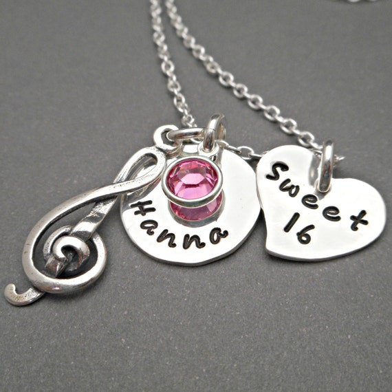 Sterling Silver Sweet 16 Necklace Charm Necklace Sweet