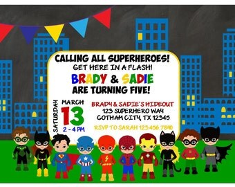 Superhero Birthday Invitation for Boys, Girls, Twins, Triplets, Siblings