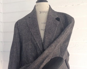 Vintage Gray Professor's Jacket w Black Suede Elbow Patches