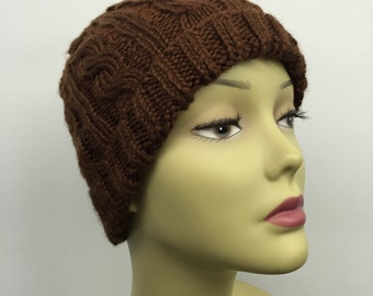 Cable Knit Hat_Brown