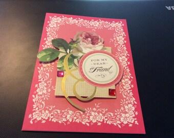 Friendship Card 3D For My Dear Friend Friendship Greeting Card handmade floral  greeting card handmade for my dear friend handmade card