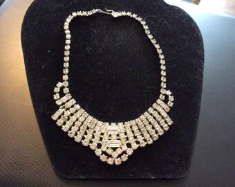 Rhinestone Necklace Bib Necklace Vintage Rhinestone necklace 1950 stunning