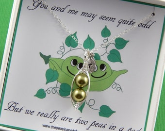 Peas in a pod, Personalized Pea Pod Necklace, Best friends Pea Pod Necklace, Choose Your Colors, Gift Boxed Necklace