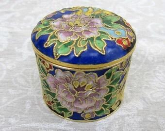 "Cloisonne Trinket Box - 1.75"" round box with waterlily design -60s-70s"