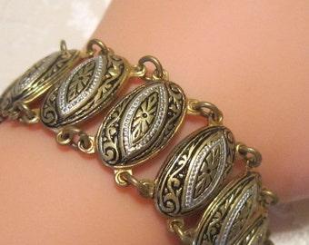 Unique Vintage Damascene Silver, Gold and Black Bracelet - Vintage Bracelet - Vintage Damascene Bracelet - BRAC-047
