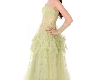 Vtg 1950s  Strapless Pale Green Tulle w Wristlets Prom Party Evening Gown Dress S 32-25-Free