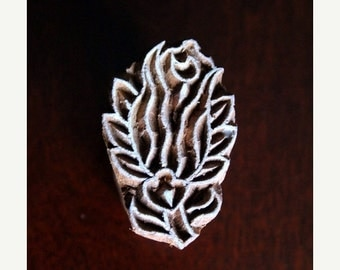 THANKSGIVING SALE Hand Carved Indian Wood Textile Stamp Block- Rose Bud (ON Sale)