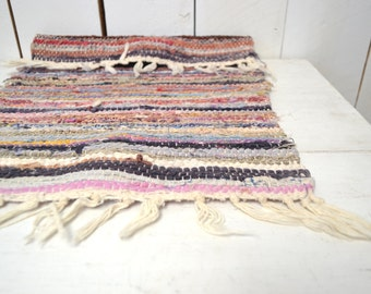 Mini Rag Rug Small Woven Multicolored Pastel Tone 1970s Vintage Fringe Throw Rug Door Mat