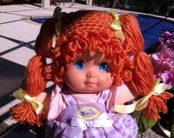 Cabbage Patch Kid Style Crocheted Orange Wig Hat Halloween Costume for Baby Girls Size Newborn to 12 Months