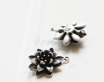 2 Pieces / Flower / Oxidized Silver Plated / Real Silver / Brass Base / Charm / Link (Z9662//G777)