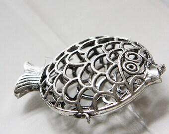 2 Pieces / Fish / Pendant / Oxidized Silver Tone / Base Metal  (Y13317//D267)
