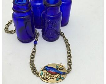 Blue Bird Necklace Repurposed Vintage Brooch Necklace
