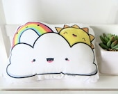 Cute softie, SOFT RAINCLOUD with sun and rainbow, illustrated and printed