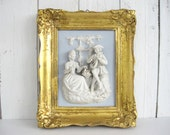 Vintage Framed Figural Wall Plaque Sculpture Alt Meissen Art 3-D Art Dresden Porcelain Germany Castle Park Scenes Blue Cottage Chic Rococo