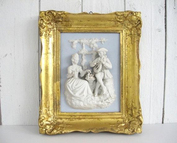 Vintage Framed Figural Wall Plaque Sculpture Alt Meissen Art