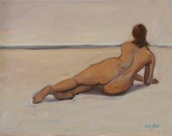 Original Oil Painting - Nude - Female Nude - Beach - Impressionism - Fine Art Nude - Original Painting - Figure Study - Reclining Nude