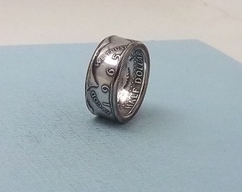 Silver coin ring 1965 Kennedy Half dollar 40% fine silver jewelry size 9 1/2