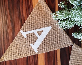 Solid Fabric Burlap Pennant Banner Letters: Nursery, Baby Shower, Bridal Shower, Bachelorette Party Decorations, Custom Banner, 38 Colors
