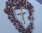 """Vintage Purple Crystal Sterling Silver ROSARY Beads 16-1/2"""" with Original Leather Pouch Religious Jewelry"""