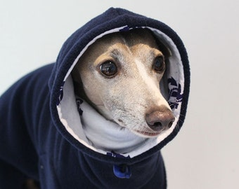 ONE Only - Large standard EXTRA* (larger chest*) Navy Jammies with Anchor Print jersey lined Snood/Neck Warmer  for Italian Greyhounds