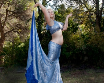 Silvery Lapis, Erte Inspired Mermaid Skirt with Side Train