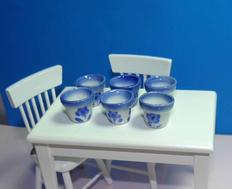 6 blue ceramic flower pots for dollhouse 1 12 scale for 6 ceramic flower pots