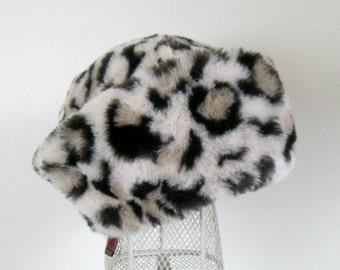 Faux Fur Plush Leopard Hat