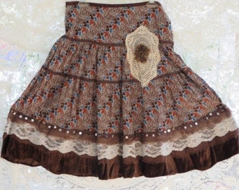 COUNTRY Chic LACE Embellished Skirt -  Falling Leaves  -- Size MEDium - SALE