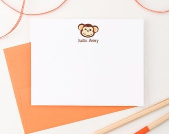 Personalized stationery for kids, monkey, Kids stationary, Personalized Stationary for kids, Baby boy stationary, personalized note cards