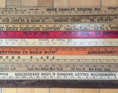 10 Vintage Wooden Yard Sticks - Assorted Colors and Styles - Advertising Rulers