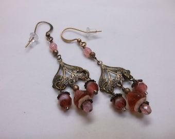 Antique Copper Art Nouveau And Cranberry Glass Beads Chandelier Earrings
