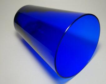 Vintage Cobalt Blue Glass Cut Rim Vase, Cobalt Blue, Blue Glass, Home Decor, Blue Decor, Blue Vase, Blue Glass Vase, Hand Blown Blue Vase