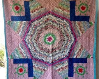 Antique Vintage BIG STAR QUILT Colorful Pretty Fabrics Excellent Shape
