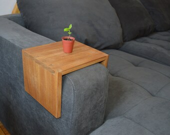 Wooden Side Table for the arm of your couch. Hand-cut Dovetails.
