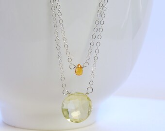 Gold Sapphire ,Lemon Quartz Dainty Necklace by Agusha. Multi Strand Sterling Silver Necklace. Gemstone Layered Necklace