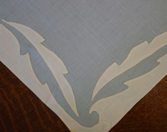 """Gorgeous Vintage Tablecloth Hand Applique, Madeira, Never Used Blue & White, 42 x 43"""""""