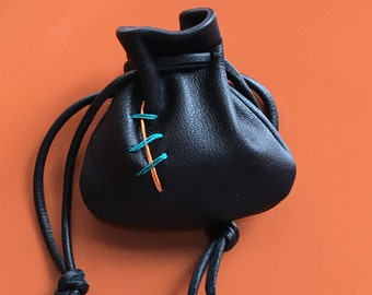 Leather Drawstring Pouch Bag