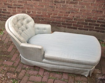 Vintage Chaise Lounge Chair, Tufted Blue Bedroom chair, Retro furniture, Hollywood Regency chair,