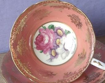 Vintage 1950's Paragon tea cup set, peach and gold tea cup and saucer, English tea cup set, bone china teacup, antique teacup, wedding gift