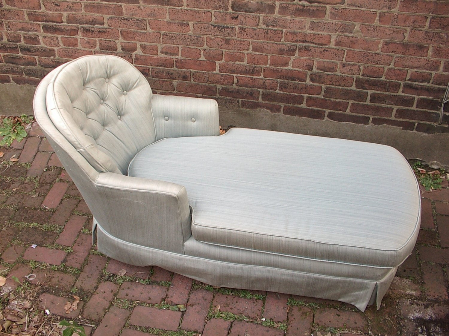 Vintage chaise lounge chair tufted blue bedroom by for Antique chaise lounge furniture