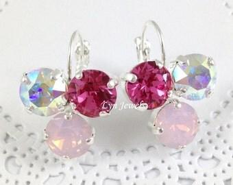 Pink Ombre Earrings - Swarovski Crystal 8mm Cluster Earrings Rose Pink, Rose Water Opal, Crystal AB Earrings